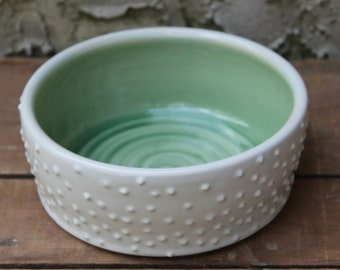 DISCOUNT Large Dog Bowl, Dish, Light Green, White, Polka Dots, In Stock, Ready to Ship