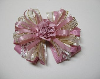 Hair Bow Wild Rose Quartz Ivory Gold Organza Lace Unique Elegant Handmade Wedding Flower Girl Glitz Pageant Boutique Dressy Fancy