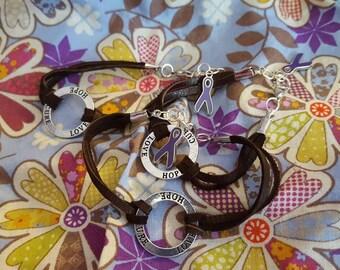 Purple Ribbon Hope Cure Love Leather Bracelet