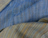 """Woven Blue and Gold Mid Century Upholstery or Curtain Fabric 2 + Yards Eames Era Drapery Fabric Reversible Yellow Stripes 51"""" wide"""