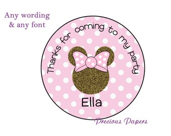 Personalized Pink and gold Minnie Mouse Birthday Stickers Minnie Party Favors Round Labels