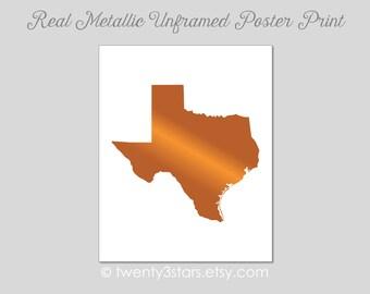 Texas Real Metallic Ink Art Print, Gold Silver Foil, Unframed, Texas State Art, silver foil Art, Add a Heart, Longhorns Art Print Gift USA