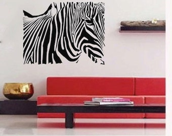 Zebra Rectangle Wall Decal, Zebra Wall Decal, Animal Wall Decal, Safari Animal Wall Decor, Zebra Wall Vinyl, Removable Zebra Wall Decal, a50