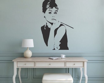 Audrey Hepburn Wall Decal, Hollywood Actress Wall Decor, Celebrity Icon Wall Art, Removable Audrey Hepburn Actress Wall Sticker Art, a78
