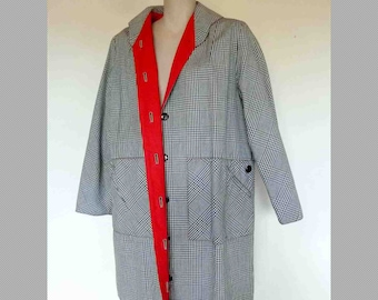 Vintage Black & White Checked Overcoat With Red Lining, 60s