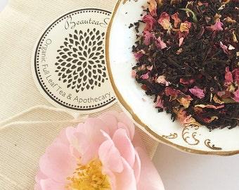Organic Loose Leaf Tea // Hibiscus Rose - Black Tea // Rose Petals // Hibiscus Flowers // Assam Full Leaf Tea - Tea Lovers