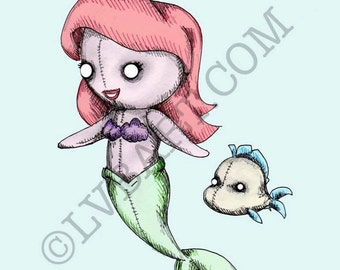Mermaid Plush Fine Art Print