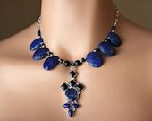 VALENTINE Sale Huge Lapis Lazuli and Black Onyx Bib Pendant Necklace, 925 Sterling Silver, Blue Oval Stone Necklace, Statement Necklace, OOA