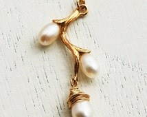 Branch necklace, 14k gold filled,  gold chain, pearl necklace, wedding, bridal necklace, charm necklace, bridal pearl necklace, branch