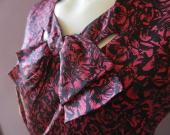 Vintage 1950's Herbert Levy Black and Red Rose Floral Sheath Dress Bow Sz L
