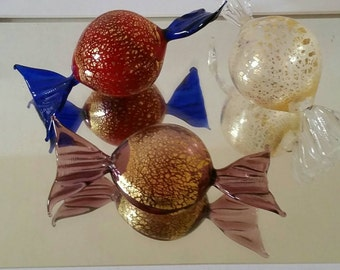 Vintage Murano Large Hand Blown Art Glass Wrapped Candy/24k gold flecked/ Set of 3