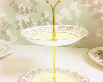 Lemon 2 Tier Mini Cake Stand, Balfour China 1940s