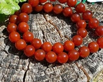 "1- 16"" Strand of Beautiful Genuine Orange, Rust, Paprika Carnelian Smooth 10mm Round Beads (apprx 39 beads)"