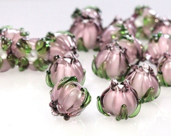 Lampwork beads light purple mini 10mm, Handmade Glass Bell,  Flower Bead, floral sra