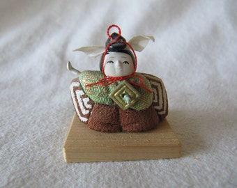 Vintage Miniature 70's Japanese Samurai Kimekomi Doll Folk Art