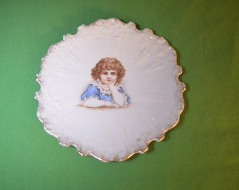 Victorian Plate Featuring a Little Brown Haired Girl