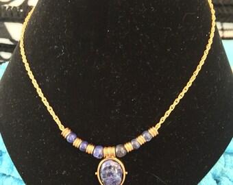 Museum art lapis gold necklace
