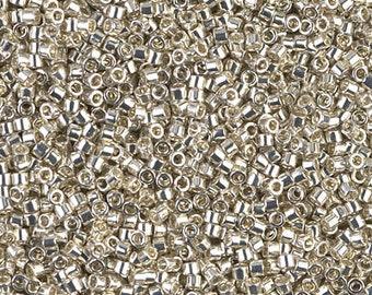 11/0 Miyuki Delica Seed Beads DB35 Galvanized Silver, Galvanized Silver DB-35 Miyuki Delica, 6 Grams, Miyuki Delica Galvanized Silver