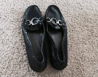 faux black flats size 9