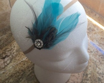 Adorable Aqua Blue Girl Feather Headband / Hair Clip, Woman Headband, Baby Girl Headband, Infant Girl Headband, Newborn Headband, Feather
