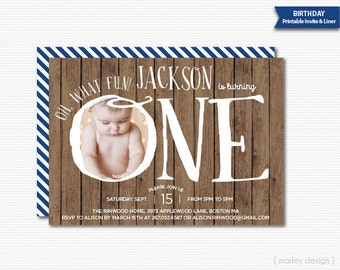 First Birthday Invitation Printable Digital Invitaion Oh What Fun 1st Birthday Photo Invitation Boys Birthday Picture Invite Wood Background