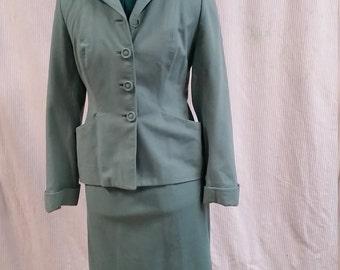 darling 1950's greenish blue wool suit