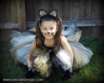 Leopard tutu dress,Cheetah costume 2pc set,Girls Birthday outfit 1st birthday party tutu dress toddler costume made per order