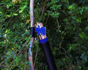 Celtic Woad Bow, Quiver, and 9 Hunting Arrows