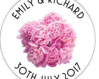 50 x Peony PERSONALISED Wedding/Party Stickers Favours/Save The Date/Invites