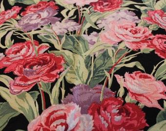 vintage black barkcloth pink purple carnations unused