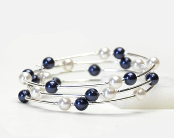 Dark Navy Blue Floating Pearl Memory Wire Bracelet - Navy Blue and White Crystal Pearl Bracelet - Navy Bridal Jewelry