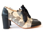Oxford camuflado (hh) - Leahter Oxford shoes in high heel - Handmade in Argentina - Free shipping