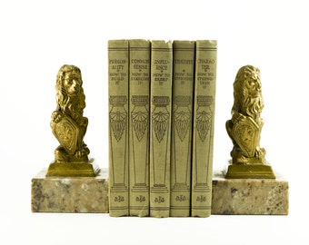 Italian Gold Lion & Marble Base Bookends - Made In Italy - 1950's