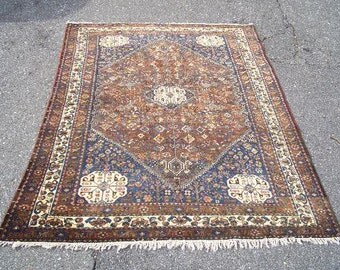Persian Rug - 1950s Hand-Knotted Abadeh Rug (3263)