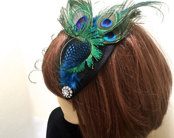 Peacock Feather Fascinator, Peacock Kentucky Derby Fascinator, Peacock Cocktail Hat