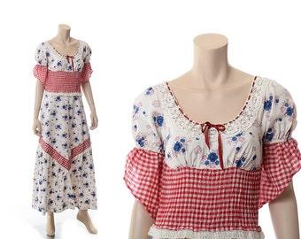 Vintage 70s Hippie Prairie Lace Smocked Maxi Dress 1970s Mini Max California Boho Festival Country Hoedown Flowers Long Dress