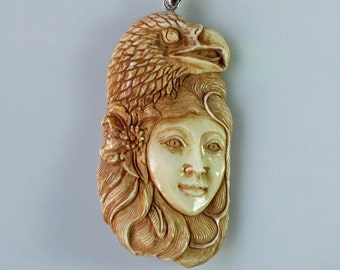 Eagle Spirit 05 - Dyed Carved Bone American Native Tribe Spirit Style Pendant with Sterling Silver Bale
