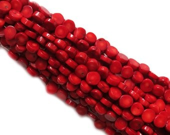 Coral Flat Chip Bead, 12mm; 1 Strand