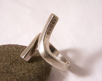 Vintage Silver Gucci Ring, Sterling Silver Ring, Gucci Silver Twist Ring, R, 9