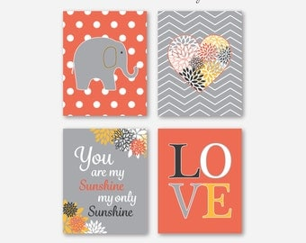 Baby Girl Coral Grey Nursery Elephant You Are My Sunshine Art Prints // Coral, Gray, Charcoal Print Set of (4) - 5x7, 8x10, 11x14 Unframed