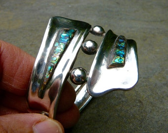 Taxco Silver Bracelet, Taxco Bracelet, Taxco Silver, Taxco Jewelry, Taxco, Abalone Jewelry, Abalone Jewelry, Silver Bracelet Women, Silver