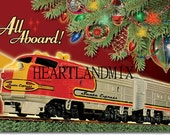 Vintage Christmas Santa Express Train Wall Art Digital Image Download Printable