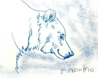 Happy bear face monoprint.