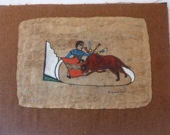 Vintage Mexican Painting Original Folk Art Bark Painting Bull Fighter and Bull Signed 'Gabriel dela Cruz' 1970s Unframed
