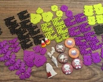 Bulk Halloween Buttons-Halloween Embellishments-Halloween Trick or Treat Buttons-Halloween Flatback Buttons-Halloween Sew Through Buttons