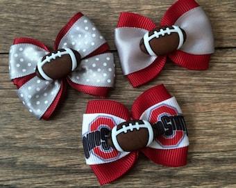 Ohio State Dog or Infant Football Bow-OSU Buckeyes Football Bow-Buckeyes Football Dog Bow-Small OSU Football Bow-Buckeyes Baby-Buckeyes Dog
