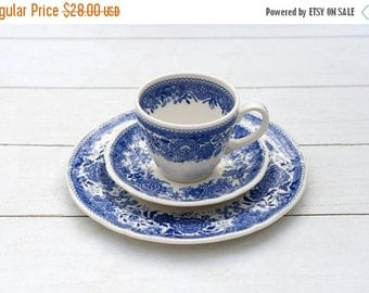 Vintage German Tea Cup and Saucer Trio Set- Blue Cream Country Villeroy and Boch Burgenland