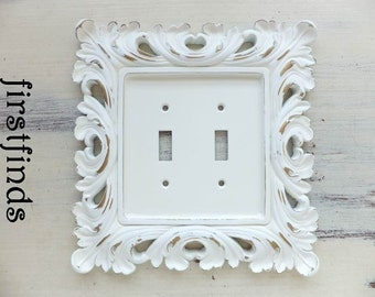 Light Switch Cover Plate Double Shabby Chic Off-White Gold Electrical Cottage Decor Painted Details Ornate Framed Toggle ITEM DETAILS BELOW