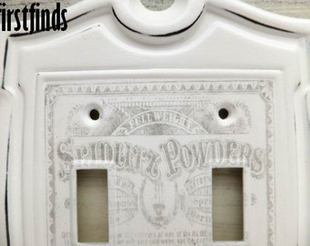 Light Switch Plate Cover Double Shabby Chic White Vintage Pharmacy Graphic Electrical Metal Wall Painted Hardware Toggle ITEM DETAILS BELOW