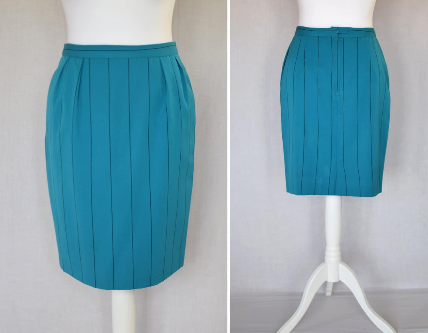 pencil skirt vintage bright turquoise blue with black